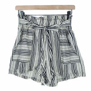 POTTER'S POT striped tie linen blend high waist L
